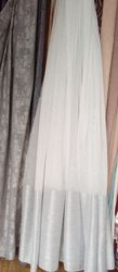 Тюль на льняной основе с широкой полосой серого цвета
