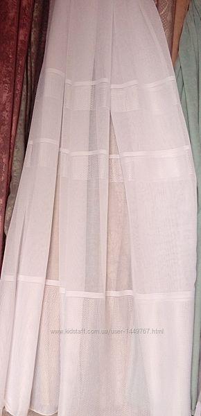 Тюль лен белоснежного цвета с декоративными полосами