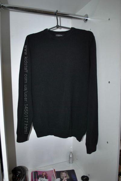 Свитер черный хлопковый унисекс M бренд стильный базовый однотонный
