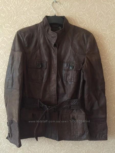 Фирменная кожаная женская куртка Zara, размер M