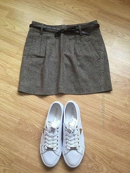 Фирменная роскошная тёплая юбка ostin с поясом, размер xs
