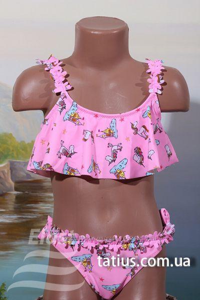 Раздельный детский купальник Единороги голубой, ярко розовый, розовый