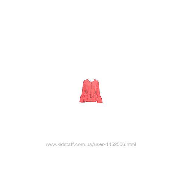 Куртка нежно-омаровая с баской и рукавами воланами
