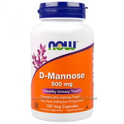 D-манноза, D-Mannose 500 мг, 120 капсул, Now Foods
