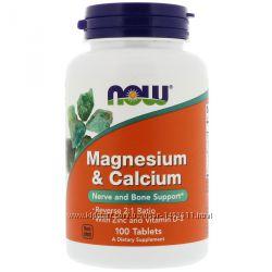 Магний и Кальций, Magnesium & Calcium, 100 таблеток, Now Foods