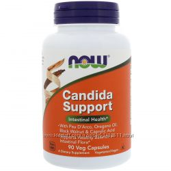 Candida Support пищеварение, кишечник, микрофлора, 90 капсул, Now Foods