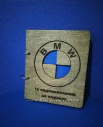 Деревянный блокнот BMW на кольцах, подарок тренеру футболисту спортсмен