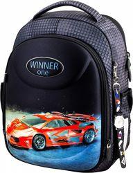 Ранец школьный рюкзак для мальчиков Winner One 6019 с машинкой часы
