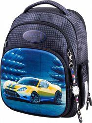 Ранец школьный рюкзак для мальчика Winner One 7008 с машинкой часы 1-4 кл