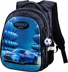 Ранец школьный рюкзак для мальчика 1-4 класс Winner One R1-006 с машинкой