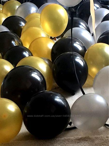 Воздушные шары черный золото серебро 20шт партия