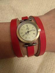 Часы jq с кожаным ремешком-браслетом