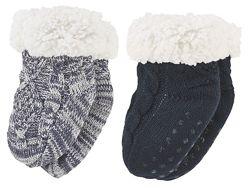 Детские тёплые вязаные носки сапожки на меху, тапочки ABS с тормозами Lupil