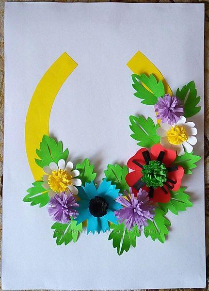 Картина Поделка Украина Цветы в школу в садик Оригами