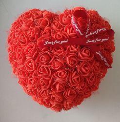 Сердце из роз. Мишка из роз