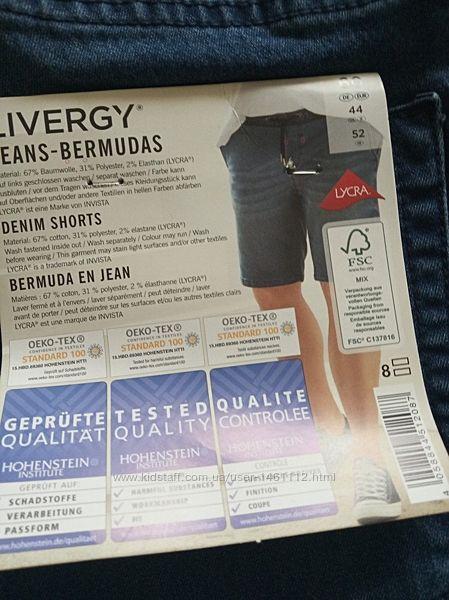 Стильные мужские джинсовые шорты Livergy Германия, батал, размер евро 62