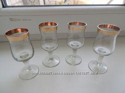 Рюмки стопки с золотой каймой СССР позолота ножка бокалы ликерные