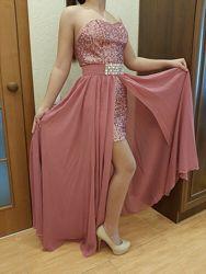 Платье вечернее праздничное выпускное корсет юбка два в одном