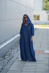 Платье льняное свободное стиль бохо. Платье с капюшоном льняное большой раз