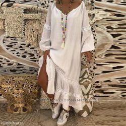 Супер платье из льна свободного кроя с кружевом, любой размер