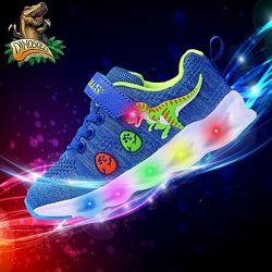 Детские светящиеся кроссовки с 3D динозаврами Dinosoles, большой выбор