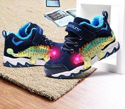 Детские мигающие демисезонные ботинки с 3D динозаврами, для мальчиков