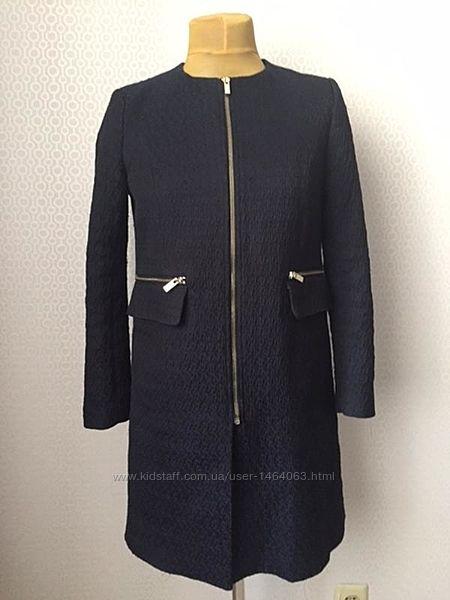 Легкое пальто на молнии из фактурной ткани от h&m, размер евр 38, укр 44-46