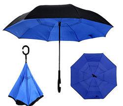 Зонт наоборот обратного сложения ветрозащитный up-brella перевертыш