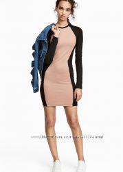 Комбинированное повседневное cветло-бежевое платье h&m однотонное