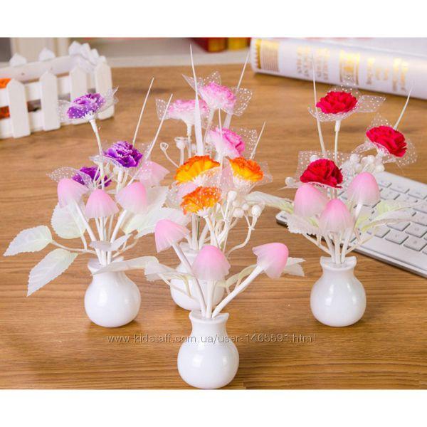 Ночник светильник Аватар, цветы грибы с датчиком