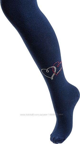 Элегантные красивые колготы от UCS с сердечками из страз для девочки.