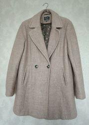 Стильное пальто outerwear by next букле шерсть 40, нежно-розовое, пудровое,