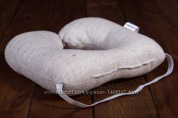 Льняная детская дорожная подушка 25х25 см.