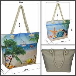 Сумка хлопковая шоппер и для пляжа. Люкс качество  сумочка тканевая белая