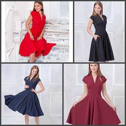 Р.42-54. Шикарное платье с расклешенной юбкой. Красное, бордо, черное. ПТ10-5