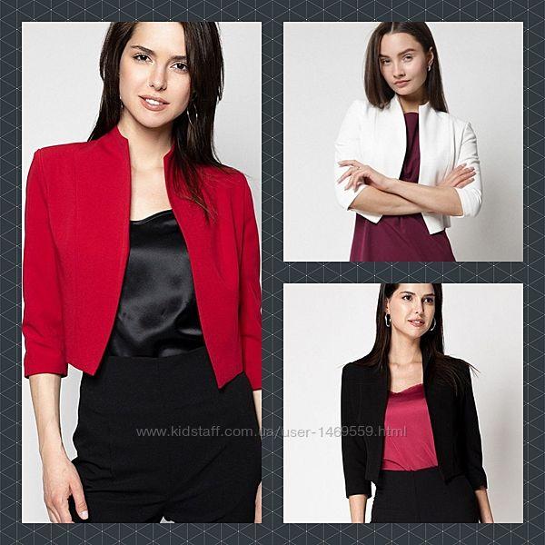 Укороченный жакет пиджак красный, черный, белый. Модный пиджак 250008