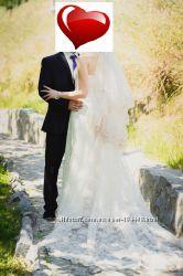 Свадебное платье со шлейфом цвет айвори