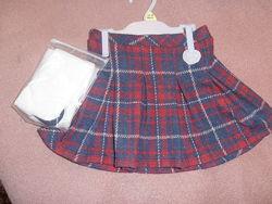 Юбка-шотландка английской фирмы  F&F с колготами  для девочки  18 мес.