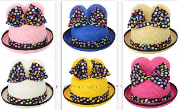 Шляпы соломенные детские с ушками на девочек