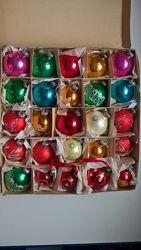 Винтажные новогодние игрушки ГДР 25 штук стекло