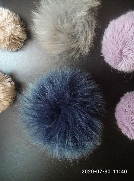 Бумбончики для шапочек, шарфов мех, нить