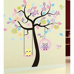 Интерьерная наклейка на стену в детскую Совы на дереве