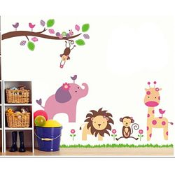 Детская наклейка на стену Зверята