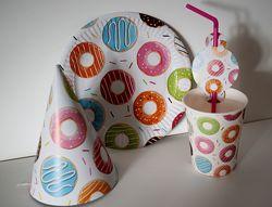 Набір одноразового посуду Пончики для дитячого Дня народження