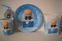 Набір одноразового посуду Босс Молокосос для дитячого Дня народження