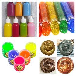 Клей для слаймов Цветной, прозрачный, неоновый, перламутровый 100 и 200 мл