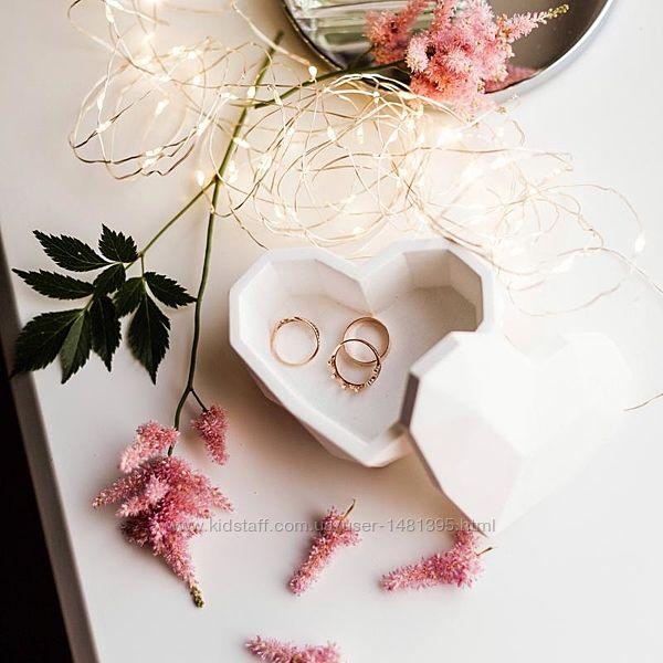 Бетонная шкатулка для украшений Сердце