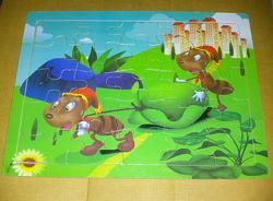 Игрушки деревянные Деревянный планшет на 25 деревянных пазла