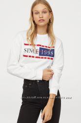 Короткая футболка-свитшот с длинным рукавом от H&M
