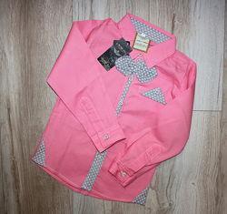 92 и 110 нарядная стильная рубашка розовая рожева сорочка с бабочкой